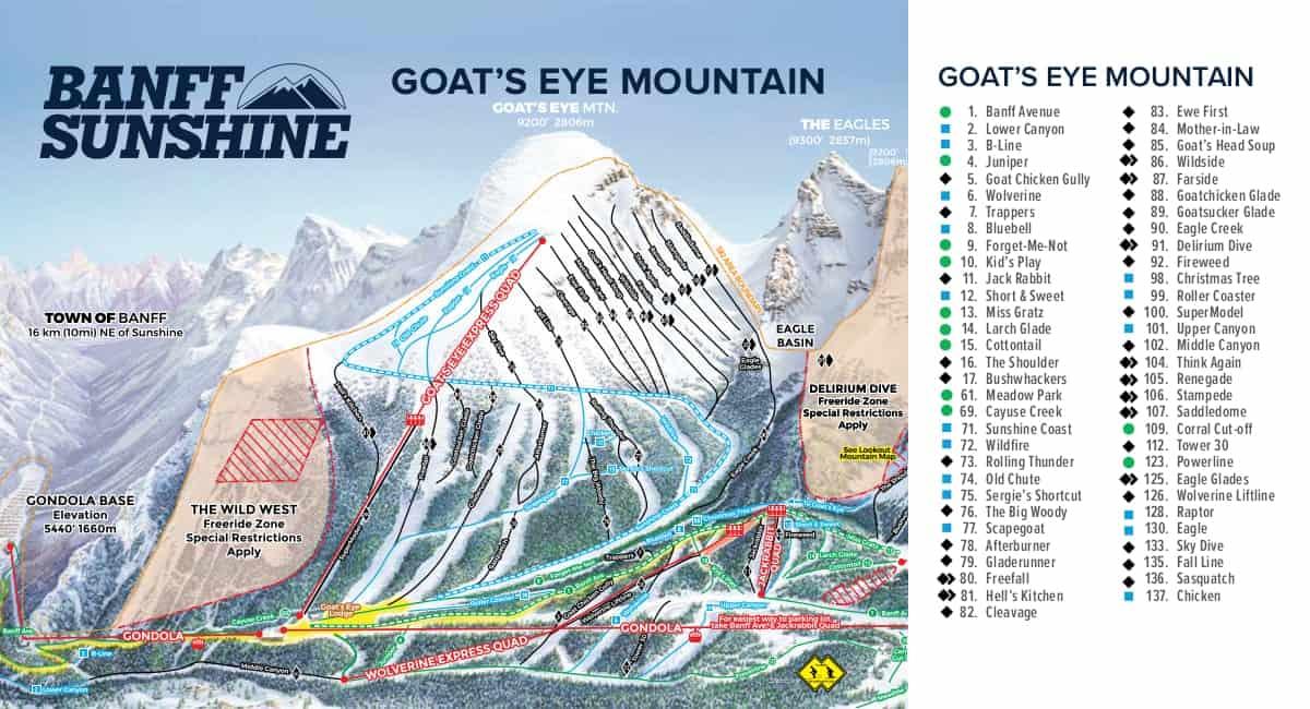 Banff Sunshine Goats Eye Ski Trail Map 2019