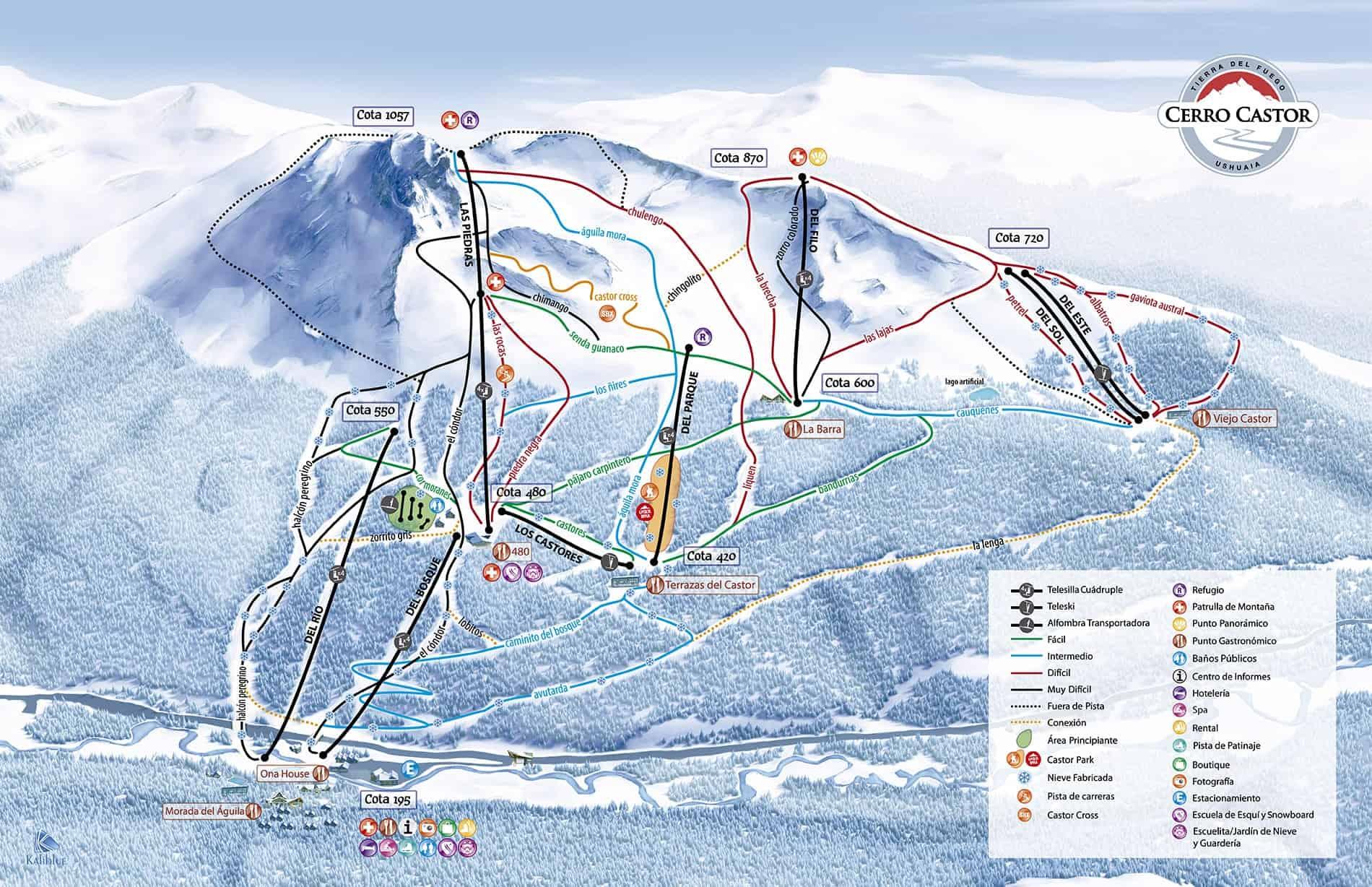 Cerro Castor pistekort.