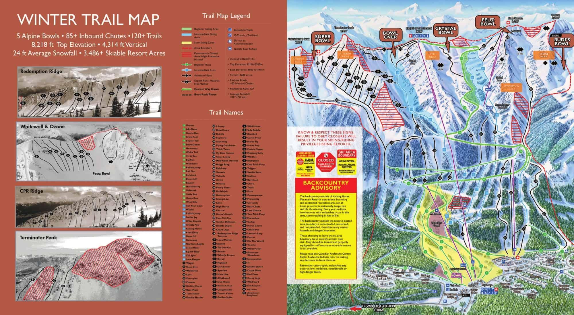 Kicking Horse Ski Trail Map 2019