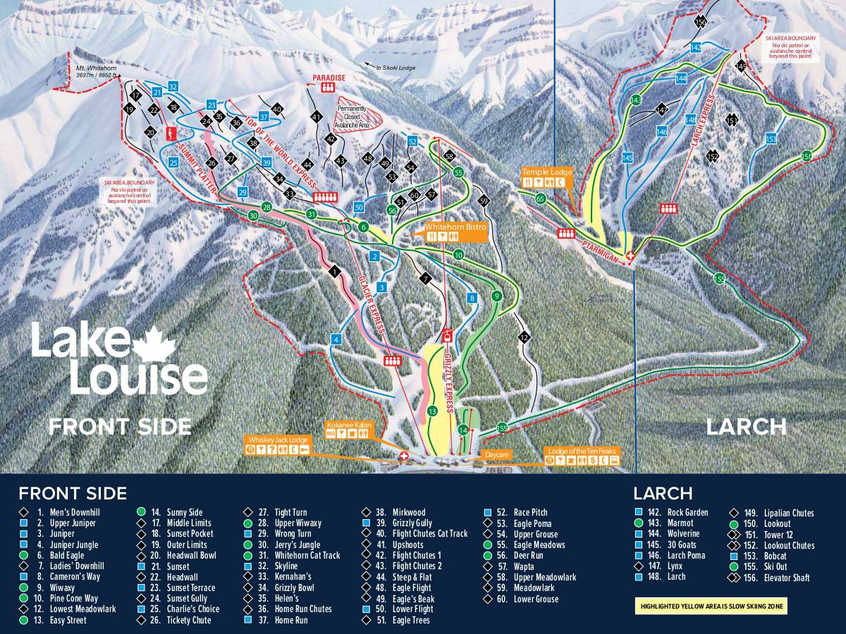 Lake Louise Front Side Ski Trail Map 2019