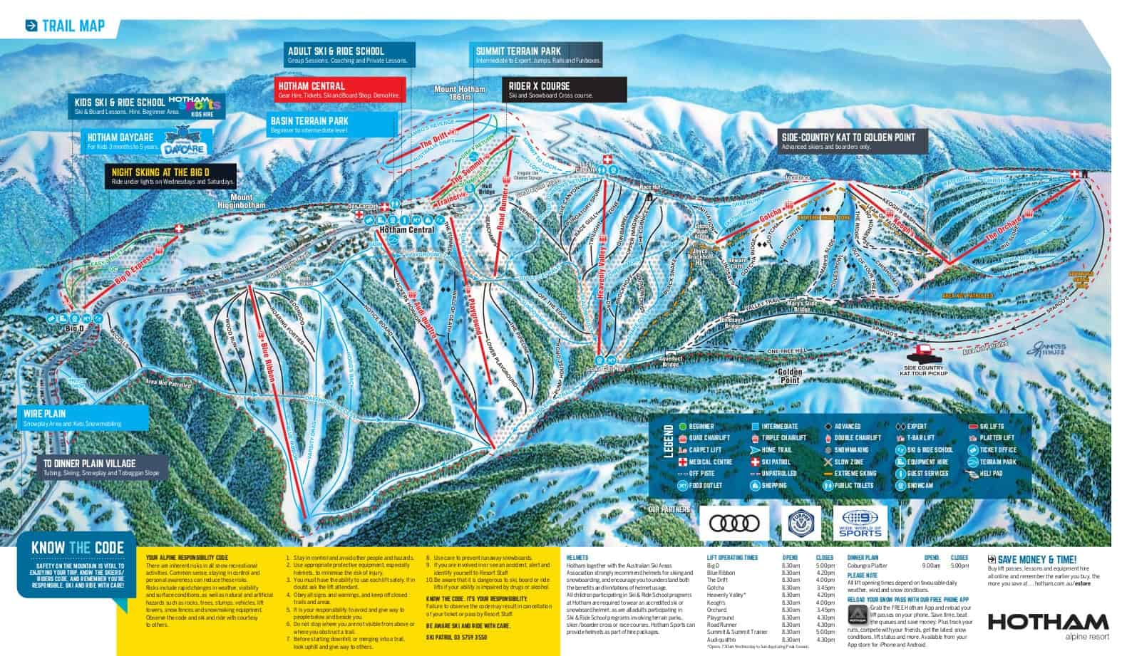 Mount Hotham Ski Trail Map 2017