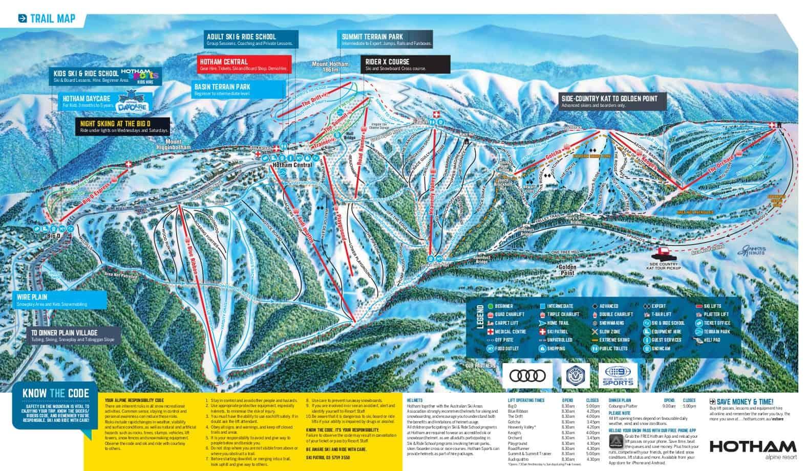 Mount Hotham Ski Trail Map 2017