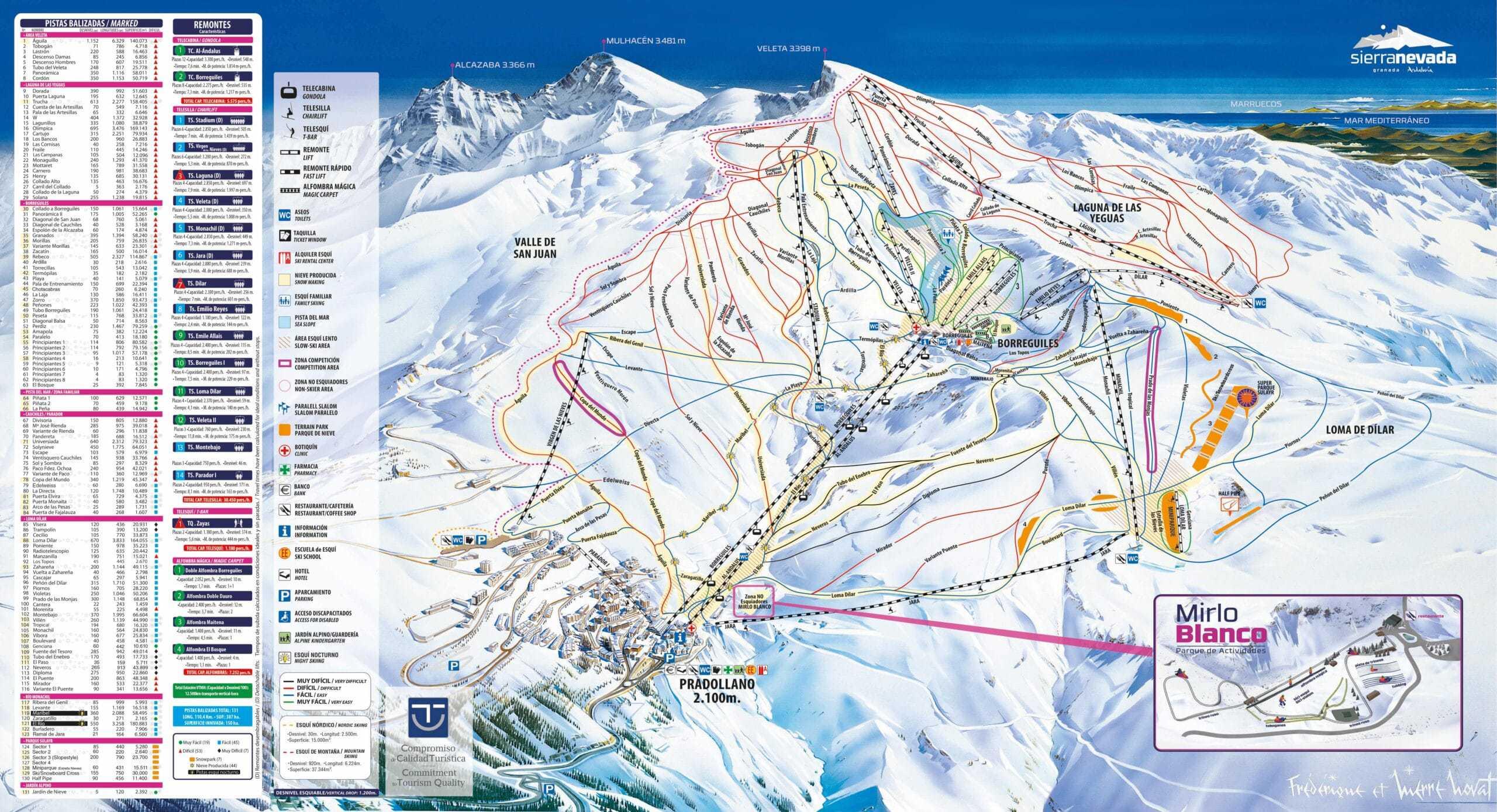 Sierra Nevada Ski pistekort scaled