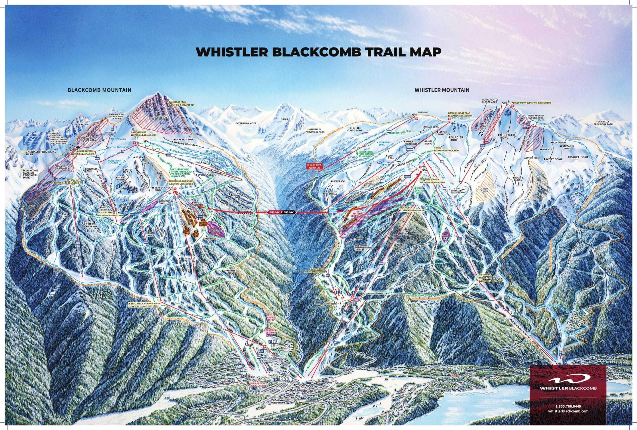 Whistler Blackcomb Ski Trail Map 2019 scaled