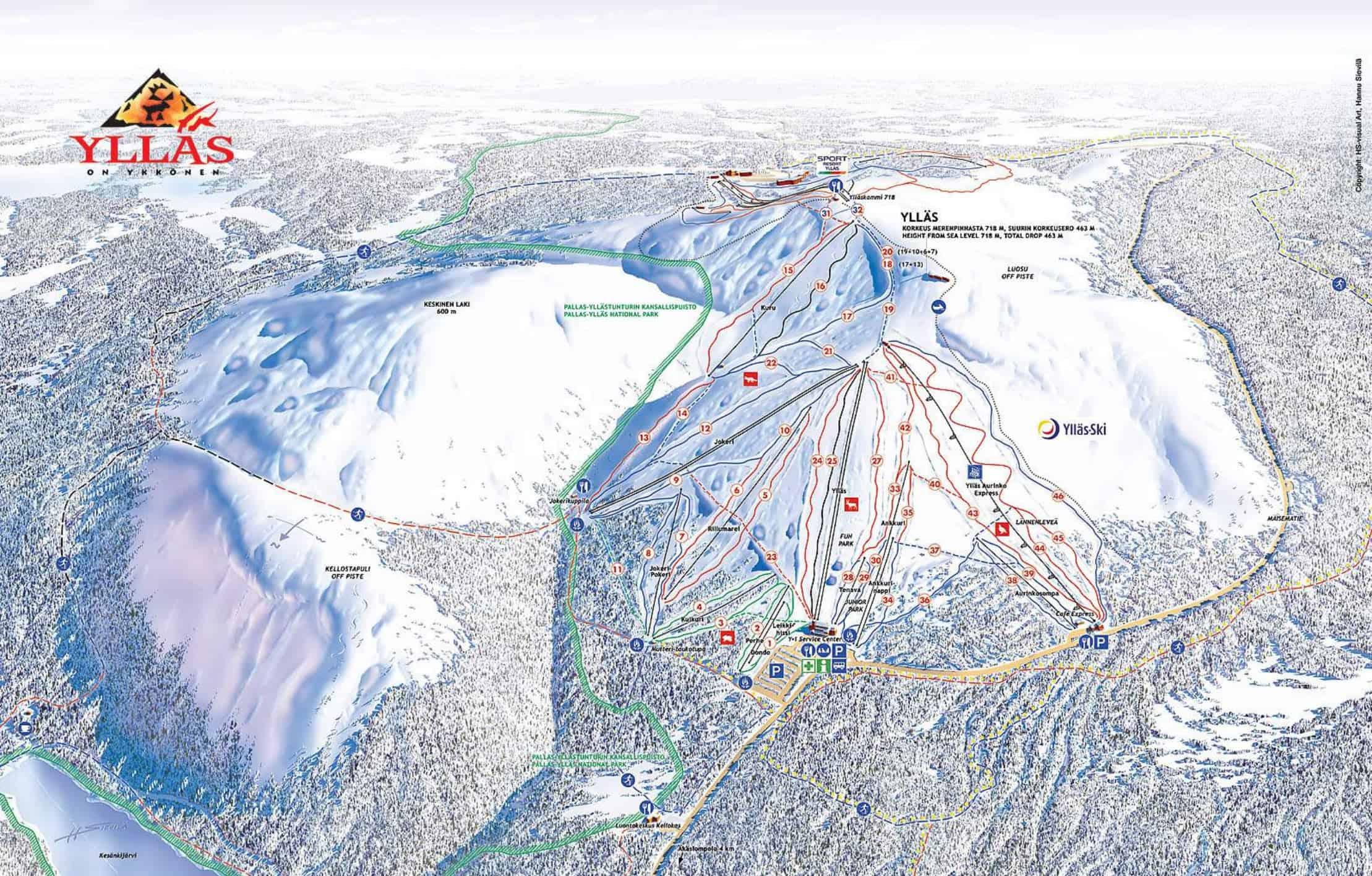 Yllas Ski pistekort