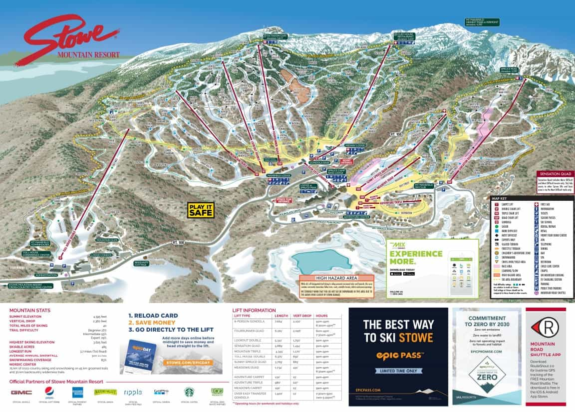 Stowe Ski Trail Map 2019