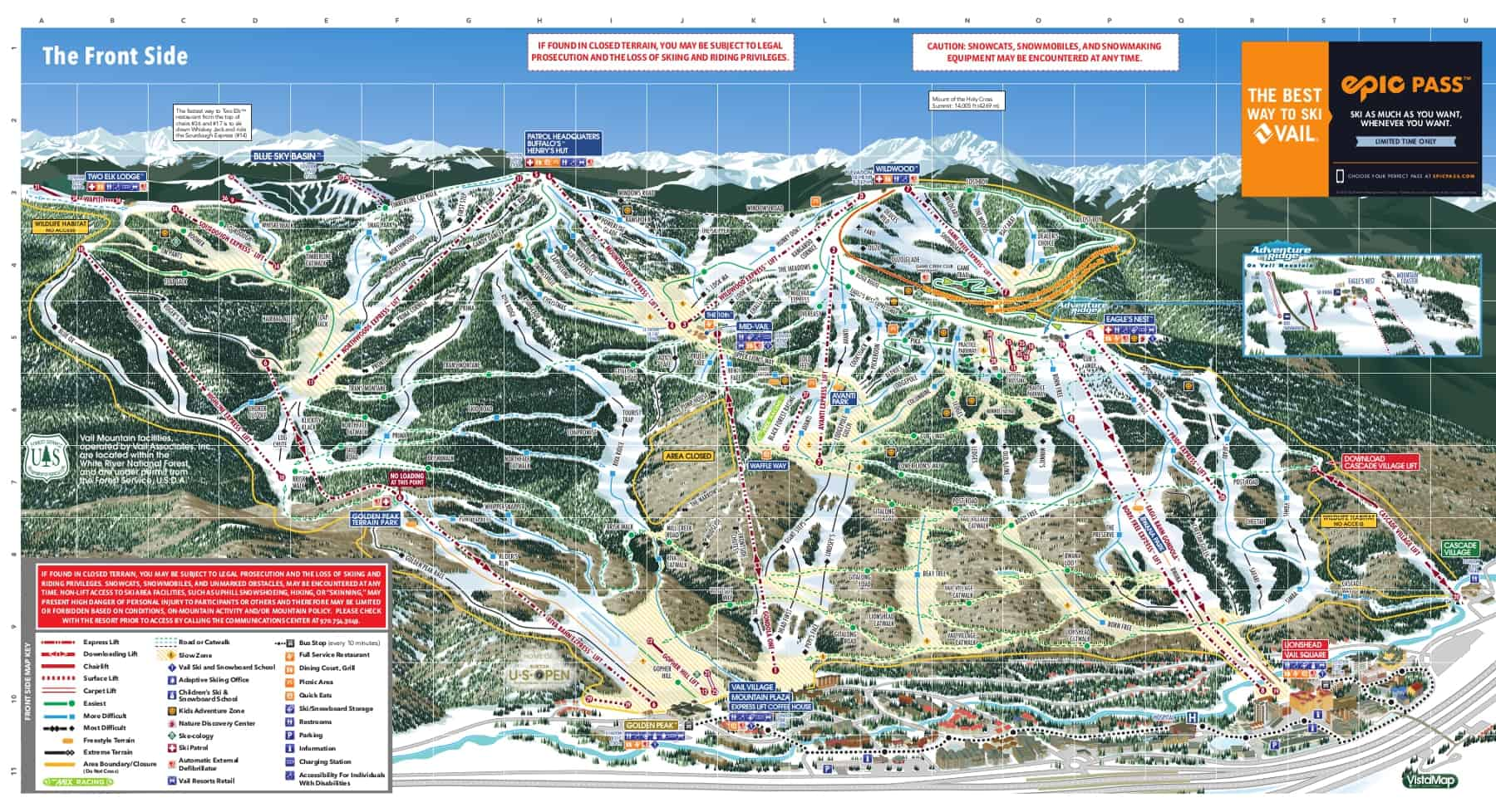 Vail Front Side Ski Trail Map 2018