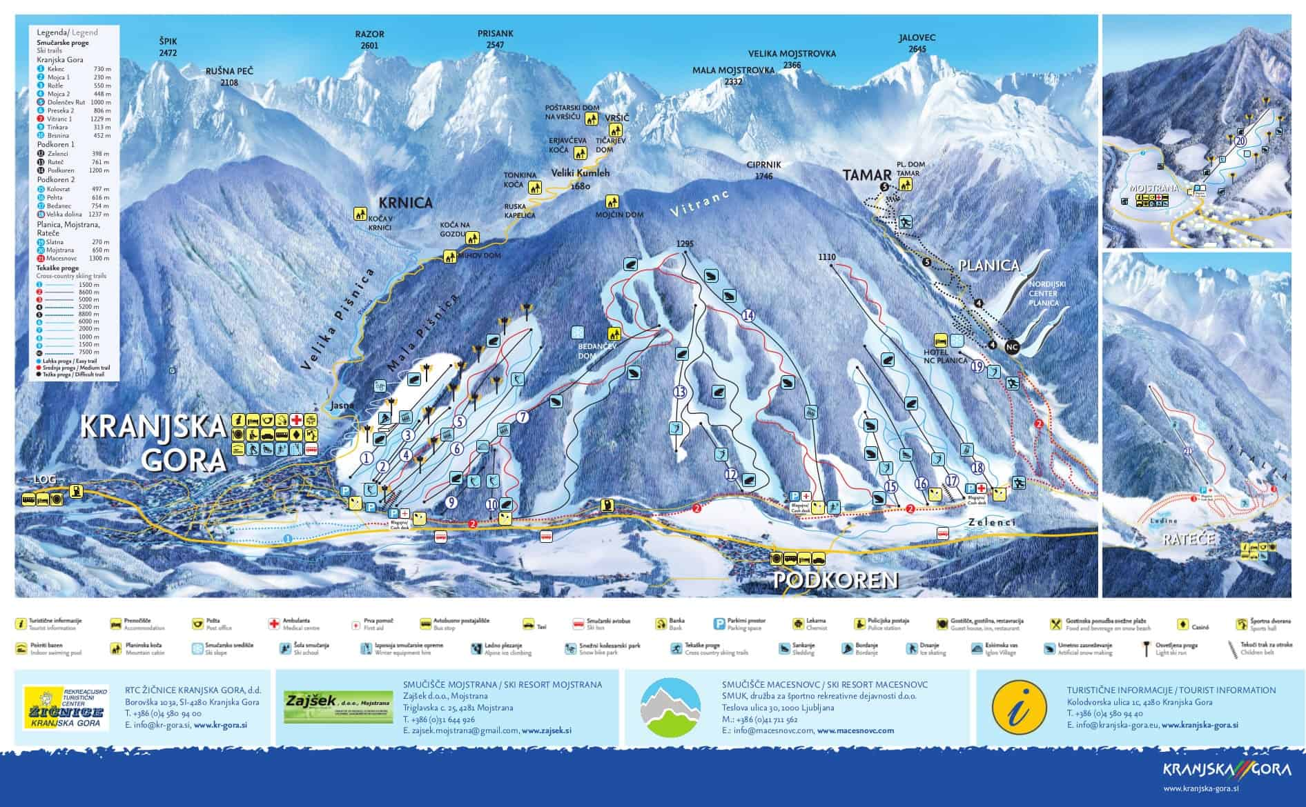 Kranjska Gora Ski Trail Map 2018