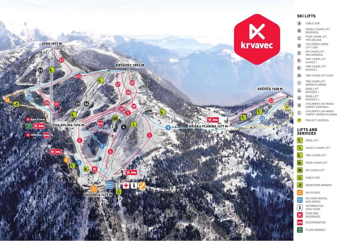 Krvavec Ski Trail Map 2019