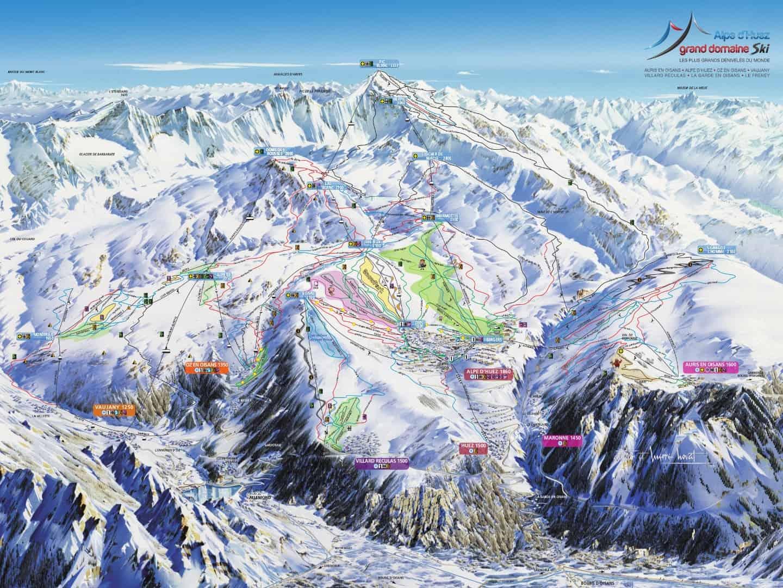 Alpe Huez Grand Domaine Pistekort JPG