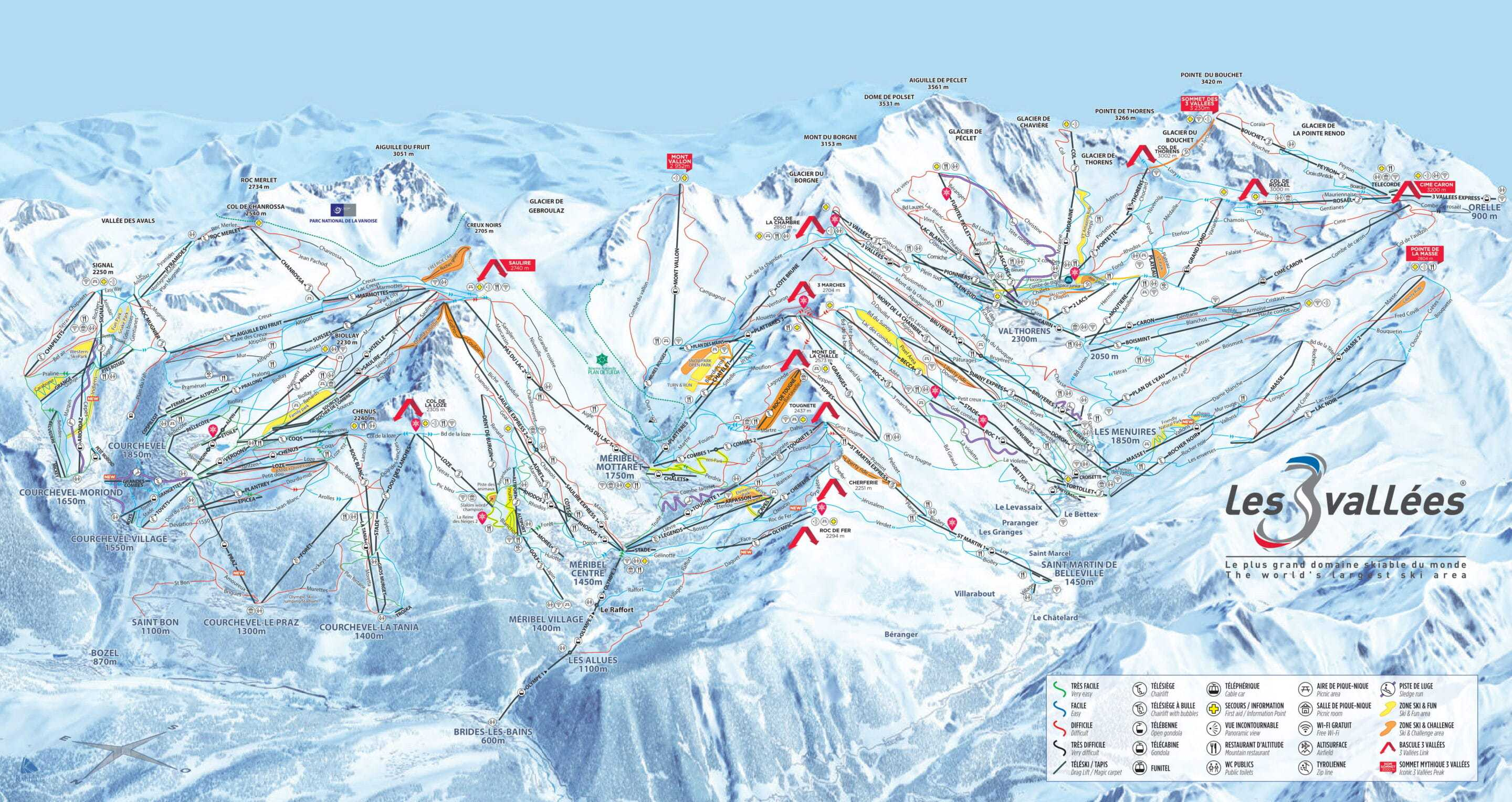 Frankrig 3 Valleys Piste Map 2020 1 scaled