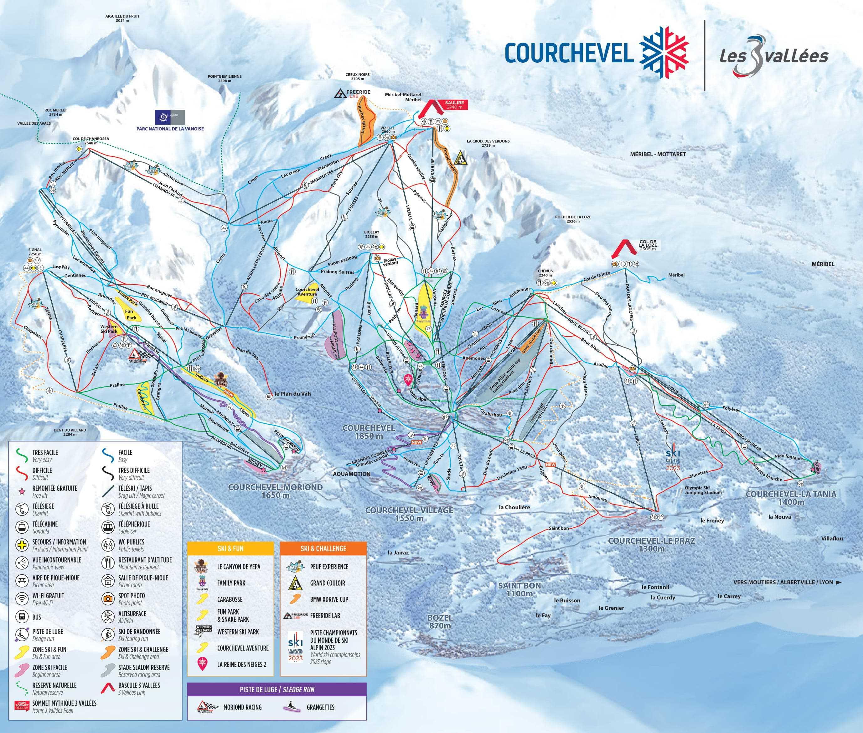 Frankrig La Tania Piste Map 2020 1