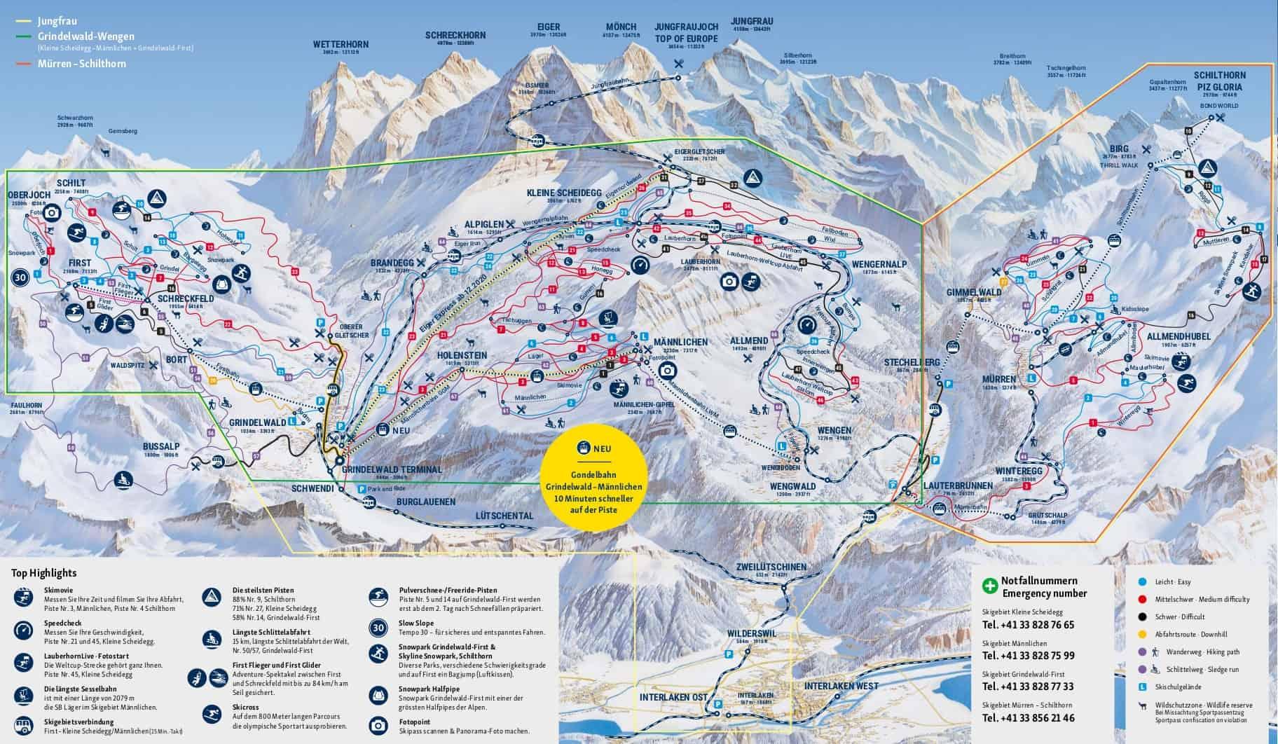 Jungfrau Piste Map JPG