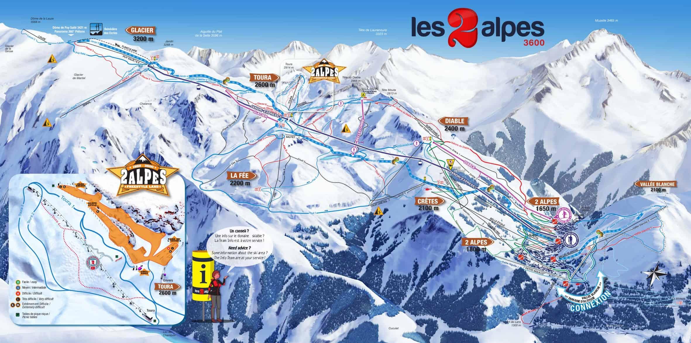Les 2 Alpes Pistekort JPG