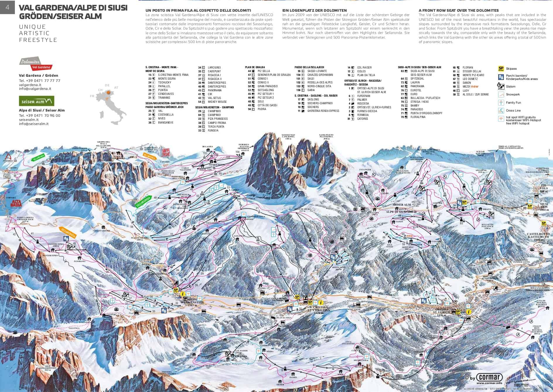 Val Gardena Alpe di Siusi Pistekort JPG