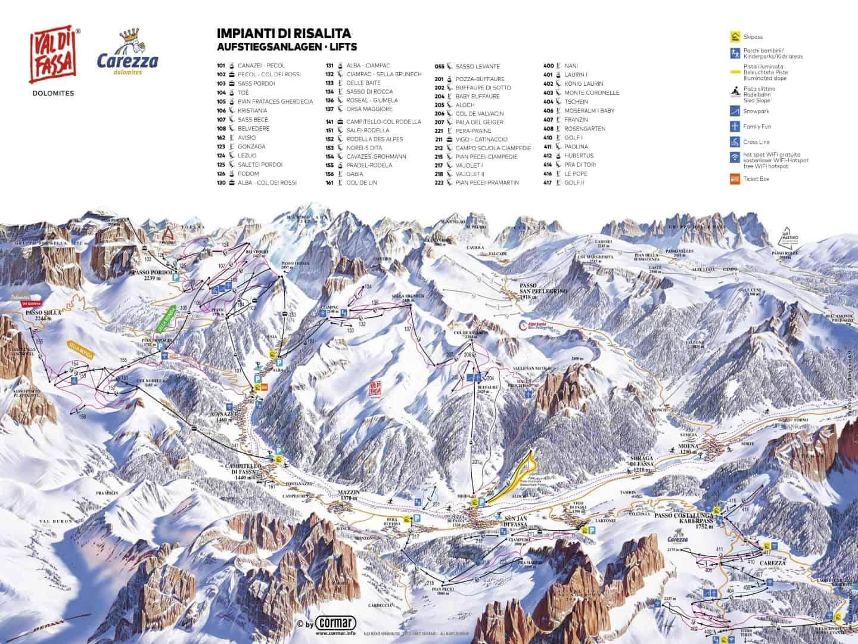 Italien Val di fassa Pistekort