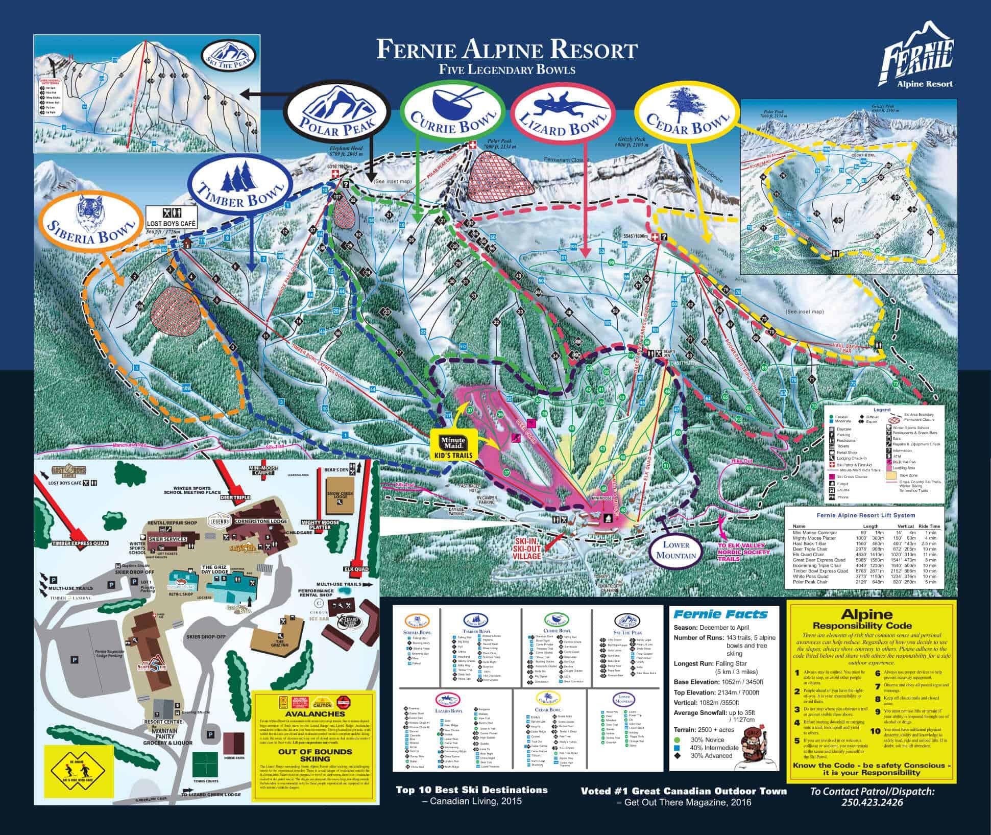 Fernie Alpine Resort Ski Trail Map 2019 optimized