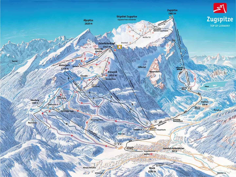 Tyskland - Garmisch Partenkirchen Pistekort