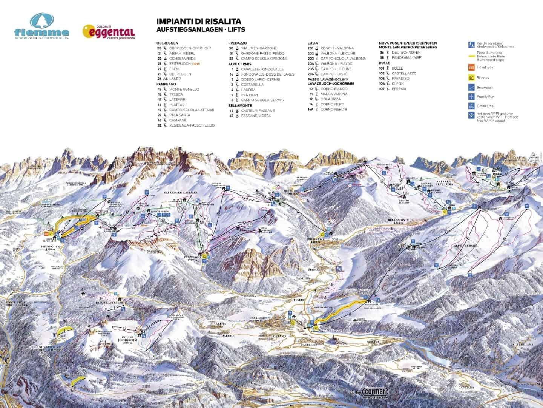 Val Di Fiemme Obereggen Pistekort