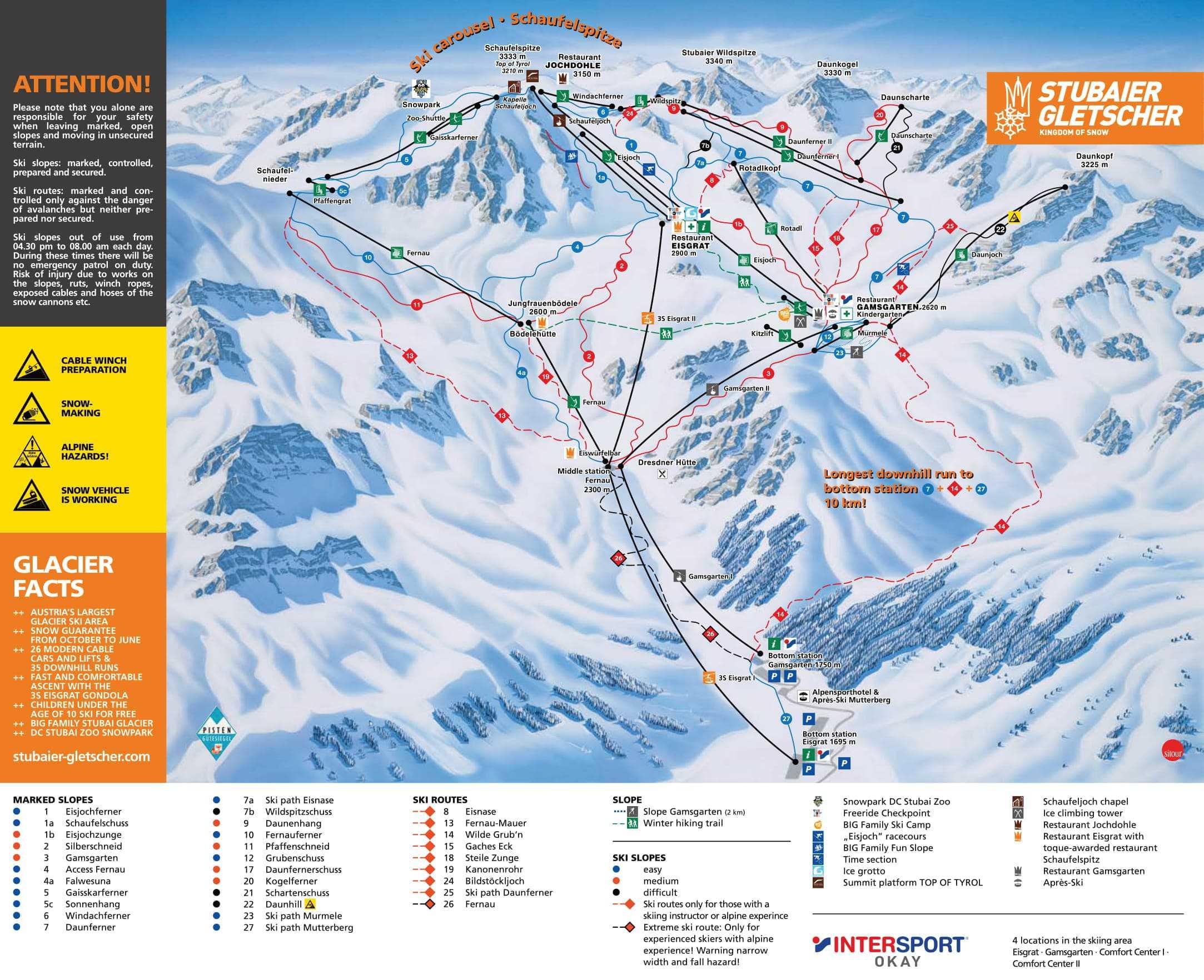 Østrig - Stubai-Gletsjeren Pistekort